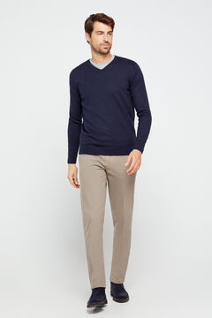 Cortefiel Essential micro print regular fit chinos Mink