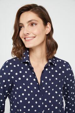 Cortefiel Polka-dot print shirt Blue