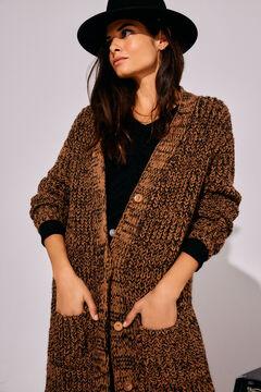 Cortefiel Long twisted yarn cardigan Black