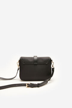 Cortefiel Medium nylon crossbody bag Black
