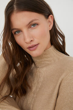 Cortefiel Long cable knit jumper Brown