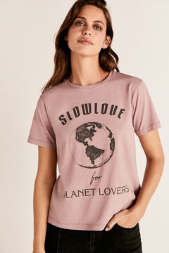Cortefiel Planet crew neck t-shirt Pink