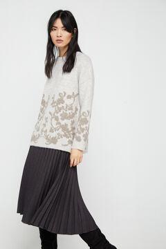 Cortefiel Jacquard design jumper Brown