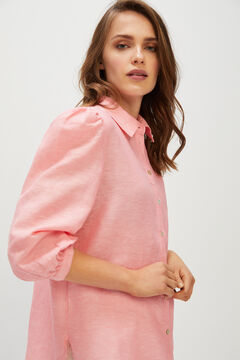 Cortefiel Long-sleeved linen shirt Purpura