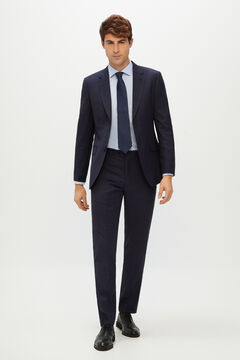 Cortefiel Slim fit blue checked suit trousers Navy