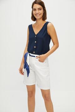 Cortefiel Bermuda Jeans fluída Branco