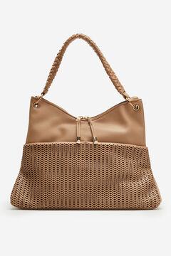 Cortefiel Hobo bag with die-cut detailing Mink