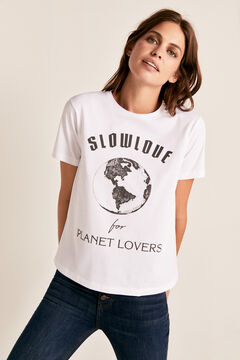Cortefiel Planet crew neck t-shirt White