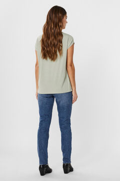 Cortefiel Lurex basic t-shirt Gray