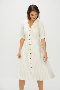 Cortefiel Striped V-neck dress Ecru