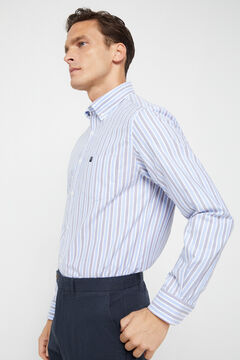 Cortefiel Organic cotton striped Oxford shirt Stone