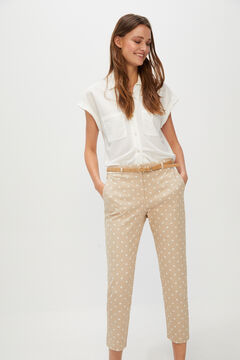 Cortefiel Cropped trousers with belt. Natural