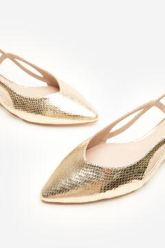 Cortefiel Zapato plano destalonado dorado Amarillo