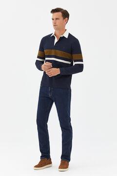 Cortefiel Long-sleeved polo shirt Navy