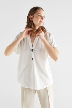 Cortefiel Comfort fabric blouse White
