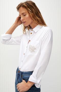 Cortefiel Camisa bolso bordado Branco