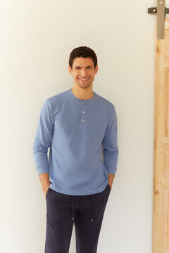 Cortefiel Long-sleeved round neck t-shirt with buttoned neck Light blue