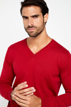 Cortefiel V-neck jumper Red
