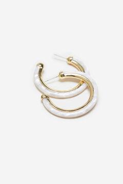 Cortefiel Resin hoop earrings Ecru