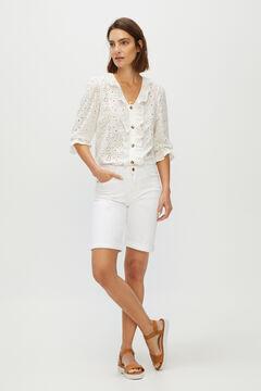 Cortefiel Bermuda Jeans Branco