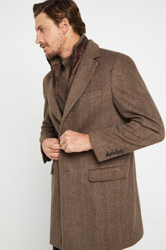 Cortefiel Herringbone coat with removable lining Stone