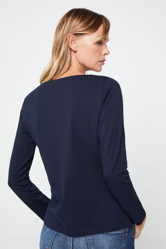 Cortefiel Boat neck t-shirt Navy