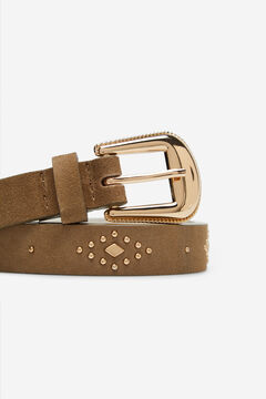 Cortefiel Suede leather belt Brown