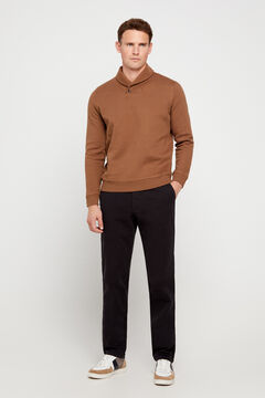 Cortefiel Regular fit winter weight chinos Black