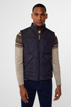 Cortefiel Ultralight contrasting padded vest Navy