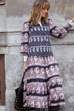 Cortefiel Printed midi dress Gray