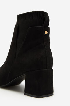 Cortefiel Stretch shaft leather ankle boot Black