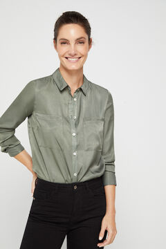 Cortefiel Silk feel shirt Green