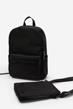 Cortefiel Nylon urban backpack Black