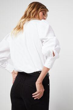 Cortefiel Maxi flounced poplin shirt White