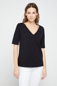Cortefiel T-shirt básica com decote em bico de algodão orgânico Preto