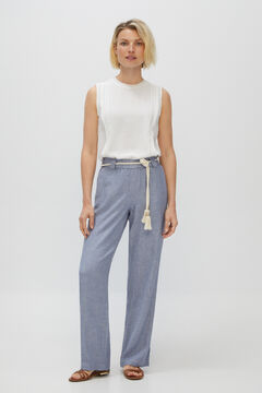 Cortefiel Casual linen trousers Burgundy