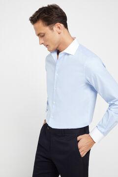 Cortefiel Slim fit contrast collar dress shirt Blue