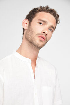 Cortefiel Short-sleeved half placket shirt White