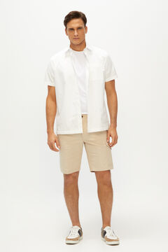 Cortefiel Organic cotton cargo style Bermuda shorts Mink