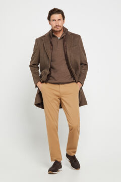 Cortefiel Slim fit winter weight chinos Mink