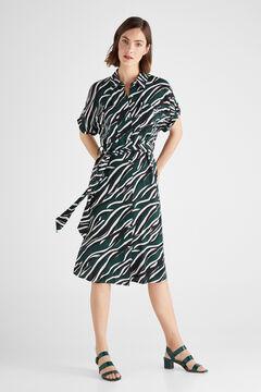 Cortefiel Vestido corto animal print Verde