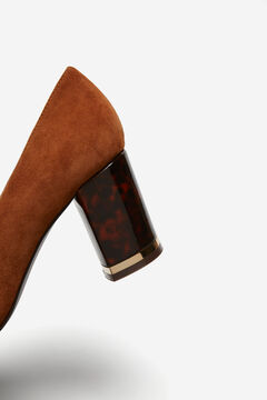 Cortefiel Leather shoe with tortoiseshell print heel Tobaco