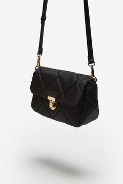 Cortefiel Padded nylon crossbody bag Black