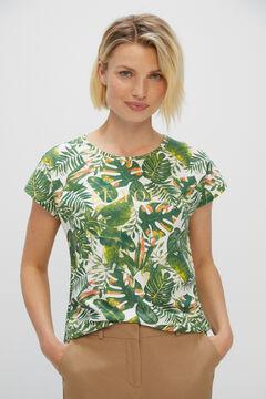 Cortefiel Printed T-shirt Ecru