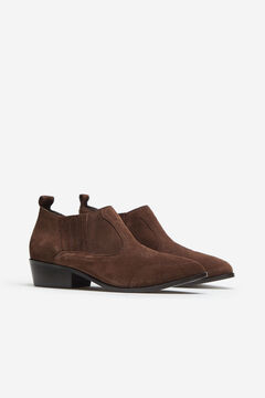 Cortefiel Leather ankle boot  Dark brown