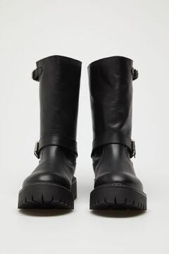 Cortefiel Double buckle boot Black