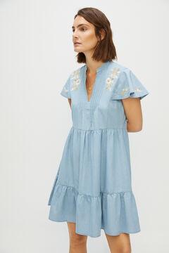 Cortefiel Fluid denim dress Royal blue