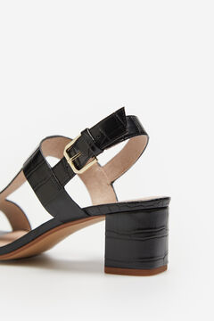 Cortefiel Crocodile embossed sandal Black