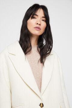 Cortefiel Long wool blend coat White