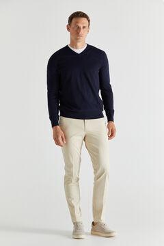 Cortefiel Cotton/cashmere V-neck jumper  Navy